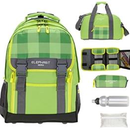6 Teile MEGA SET: ELEPHANT HERO 2 Trolley + Sporttasche + Federmäppchen XL + Mäppchen Zipper + Regenschutz + Trinkflasche 12365 (Plaid Green) -