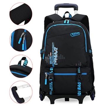 CORLISS Kids Nylon Trolley Schultasche auf Rädern Rollen Rucksack Gepäckschulbuchtasche(FBA) (#02 Hellblau) -