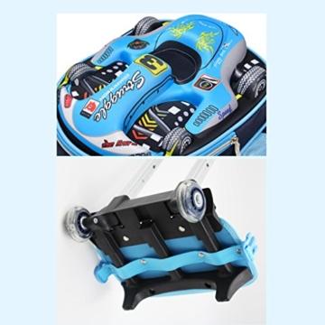GudeHome Schultrolley Schulranzen mit Abnehmbar Rollen 3D Auto Schultasche Schulrucksack mit Rollen für Jungen Mädchen Kinder Blau -