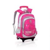 GudeHome Schultrolley Schulranzen mit Abnehmbar Rollen Schultasche Schulrucksack mit Rollen für Jungen Mädchen Kinder Rose -