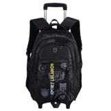 Lalawow Schultrolley Schulranzen mit Rollen Schultasche Schulrucksack mit Rollen Schultertasche Rucksack Backpack mit rollen Rollentasche für Jungen Mädchen Kinder (Schwarz) -