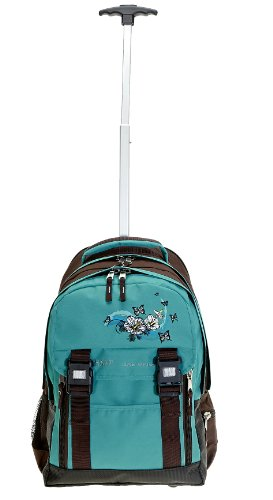 SET Trolley ELEPHANT Schultrolley Schulrucksack Ranzen + Sporttasche + Mäppchen + Regenschutz Butterfly TÜRKIS -