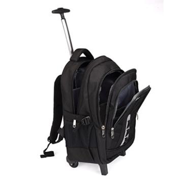 SymbolLife business wheeled backpacks business rucksack mit den Trolleys modern Notebook Laptoptasche Schulrucksack Business Reisetrolley Business Bag 18 zoll, 47*33*22cm, Schwarz -