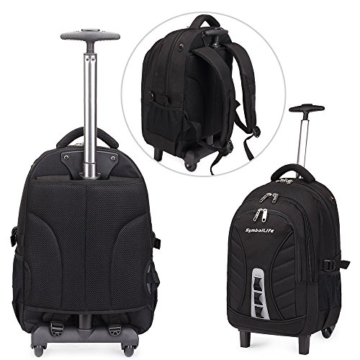 SymbolLife business wheeled backpacks business rucksack mit den Trolleys modern Notebook Laptoptasche Schulrucksack Business Reisetrolley Business Bag 18 zoll, 47*33*22cm, Schwarz -