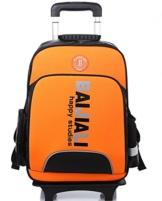 YAAGLE Sicherheit Teleskopgriff Kinder Rucksack Trolley-Tasche mehrfarbig Damen und Herren Unisex 1-6 Klasse Schulrucksack Reisetasche-orange -