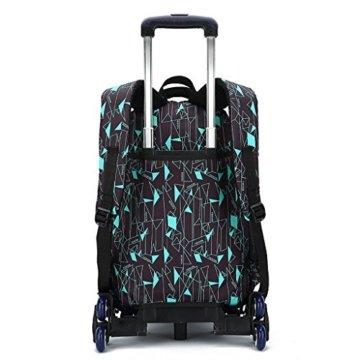 UEK Trolleytasche Rucksack Rollen Rollenreisetasche Schultrolley Schultasche Reisegepäck mit 6 Rollen Trolley Tasche - 2