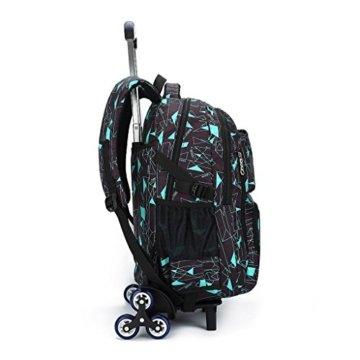 UEK Trolleytasche Rucksack Rollen Rollenreisetasche Schultrolley Schultasche Reisegepäck mit 6 Rollen Trolley Tasche - 3