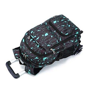 UEK Trolleytasche Rucksack Rollen Rollenreisetasche Schultrolley Schultasche Reisegepäck mit 6 Rollen Trolley Tasche - 4