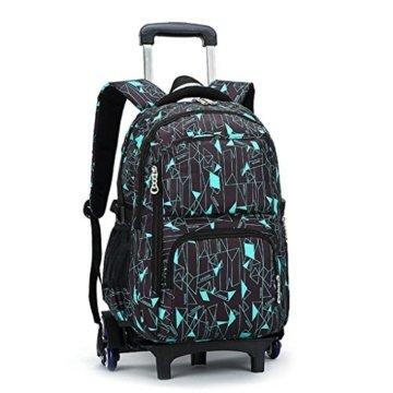 UEK Trolleytasche Rucksack Rollen Rollenreisetasche Schultrolley Schultasche Reisegepäck mit 6 Rollen Trolley Tasche - 1