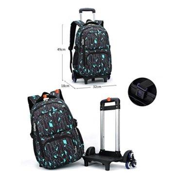 UEK Trolleytasche Rucksack Rollen Rollenreisetasche Schultrolley Schultasche Reisegepäck mit 6 Rollen Trolley Tasche - 5