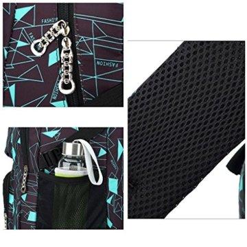 UEK Trolleytasche Rucksack Rollen Rollenreisetasche Schultrolley Schultasche Reisegepäck mit 6 Rollen Trolley Tasche - 6